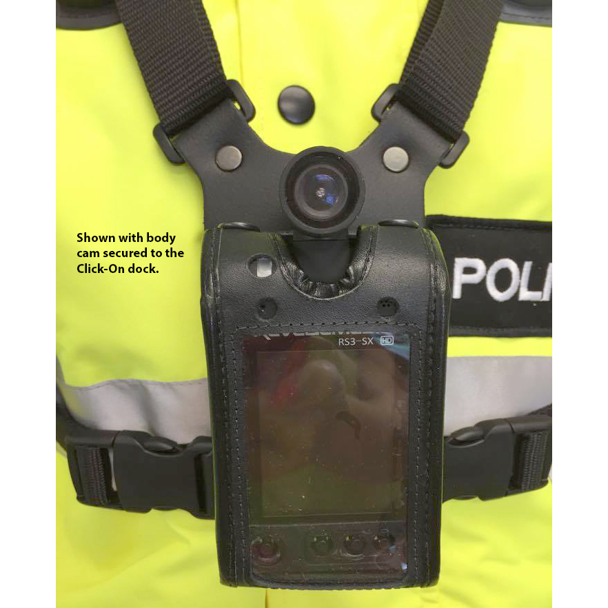 Chest Harness with Click-On for Radio or Bodycam Leather
