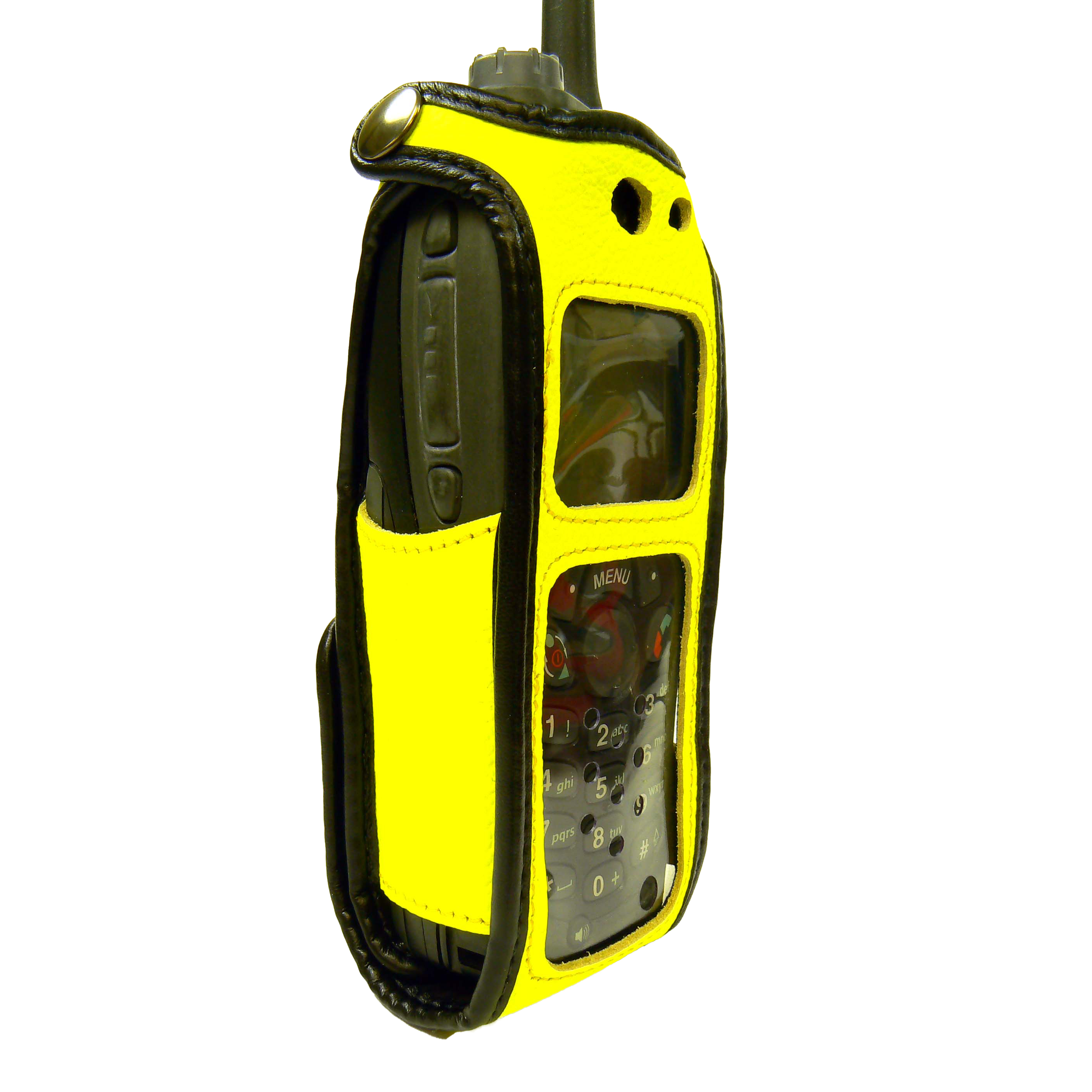 Motorola MTH650 Tetra Hi-Vis Yellow leather radio case with Click-On