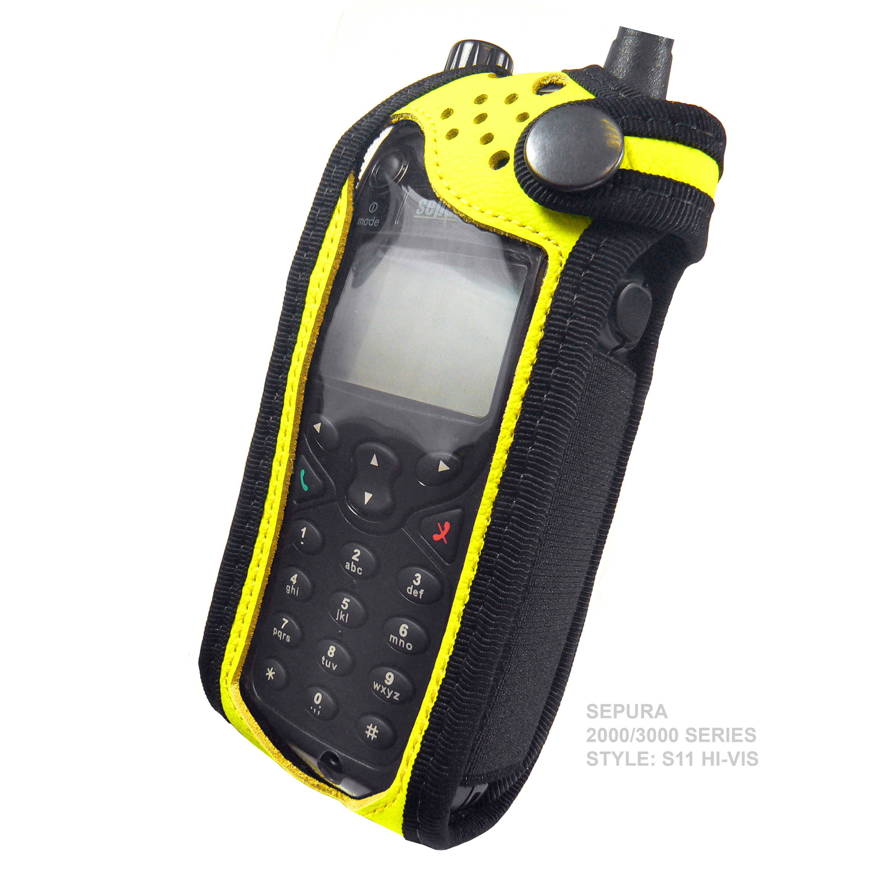 Sepura SRP3000 Tetra Radio Case Hi-Vis Yellow Leather with Click-On