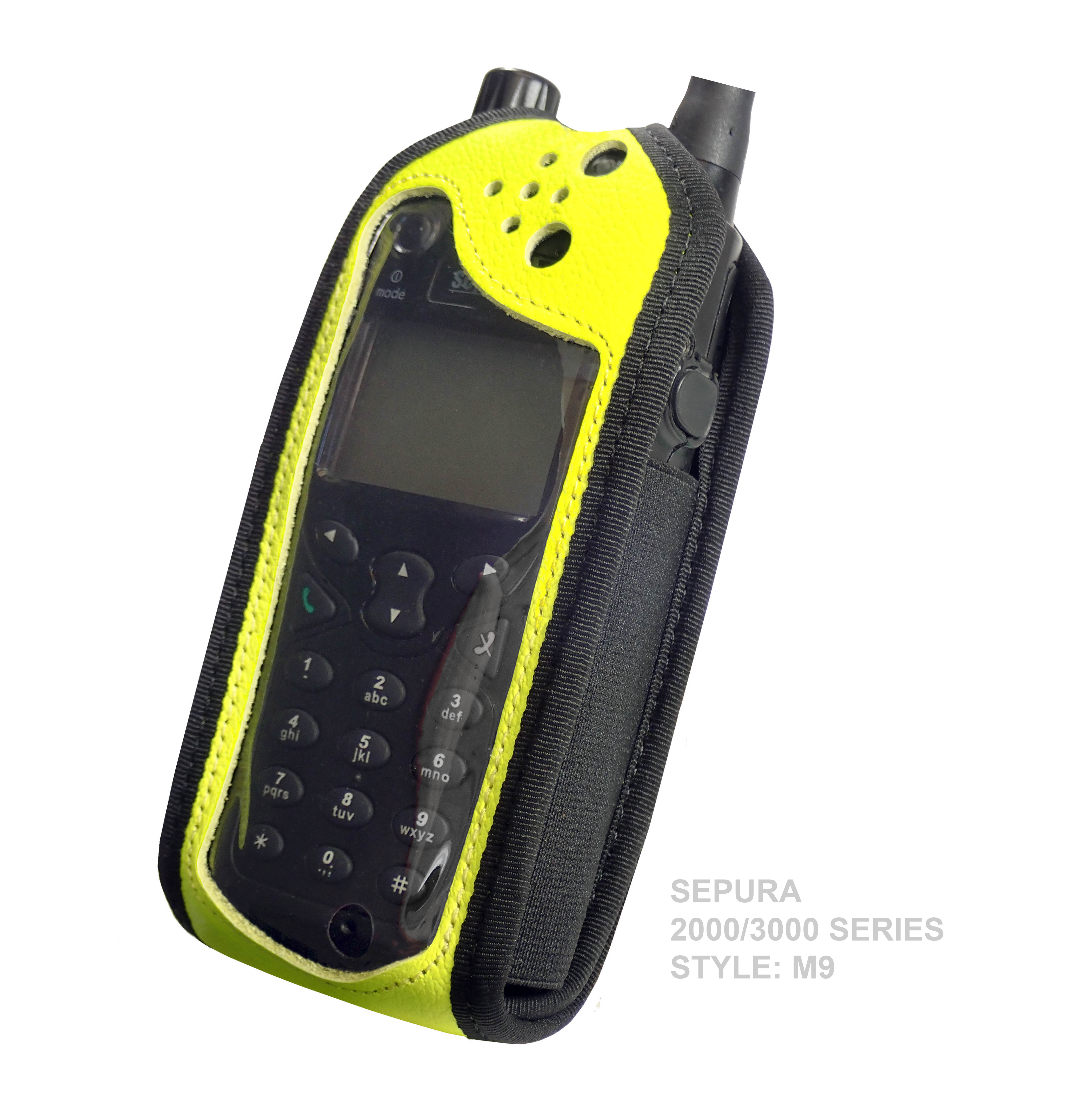 Sepura SRP2000 Tetra Hi-Vis Yellow leather radio case with Click-On
