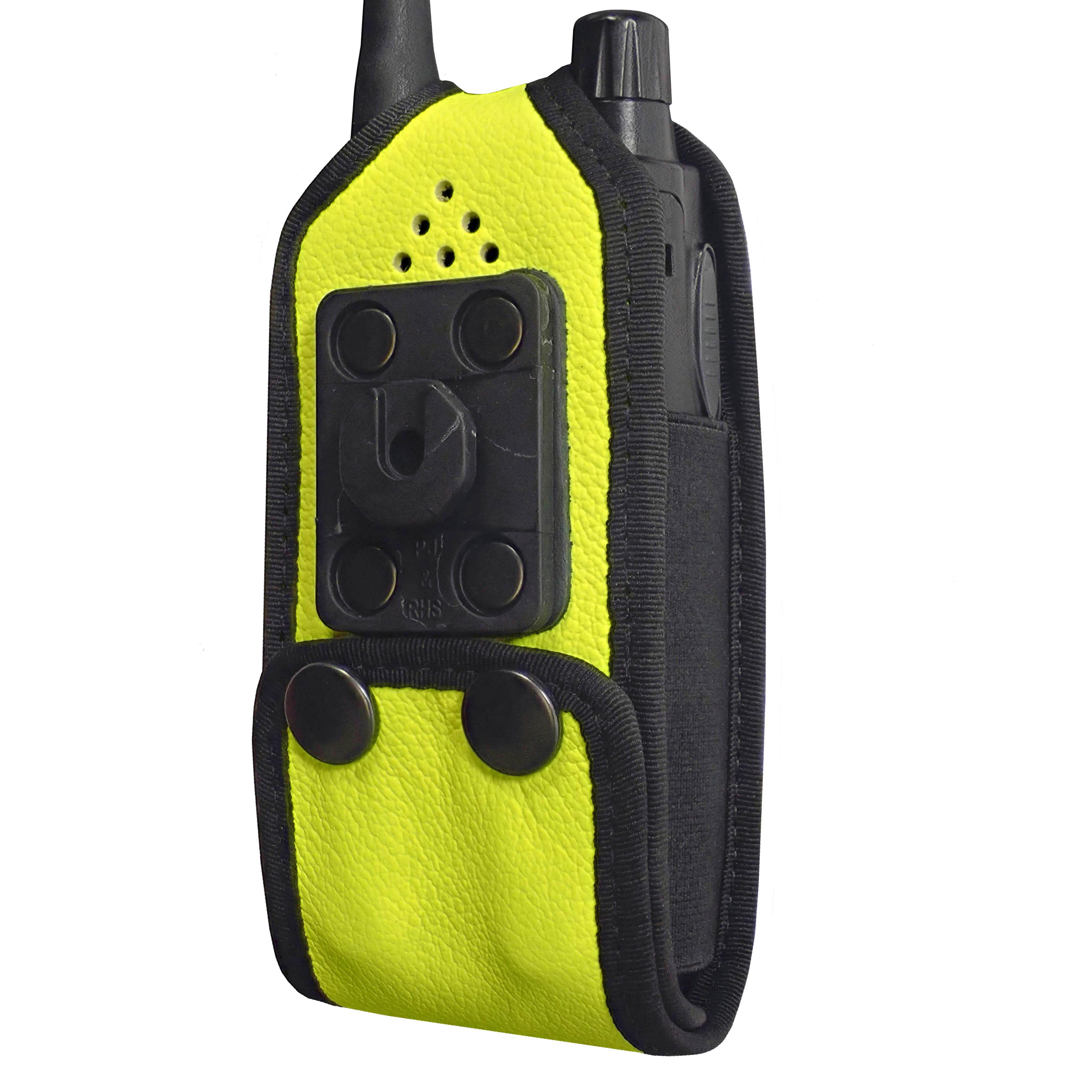 Sepura SRP2000 Tetra Hi-Vis Yellow leather radio case with Click-On