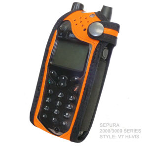 Sepura SRP2000 Tetra Hi-Vis Orange PU radio case with Click-On