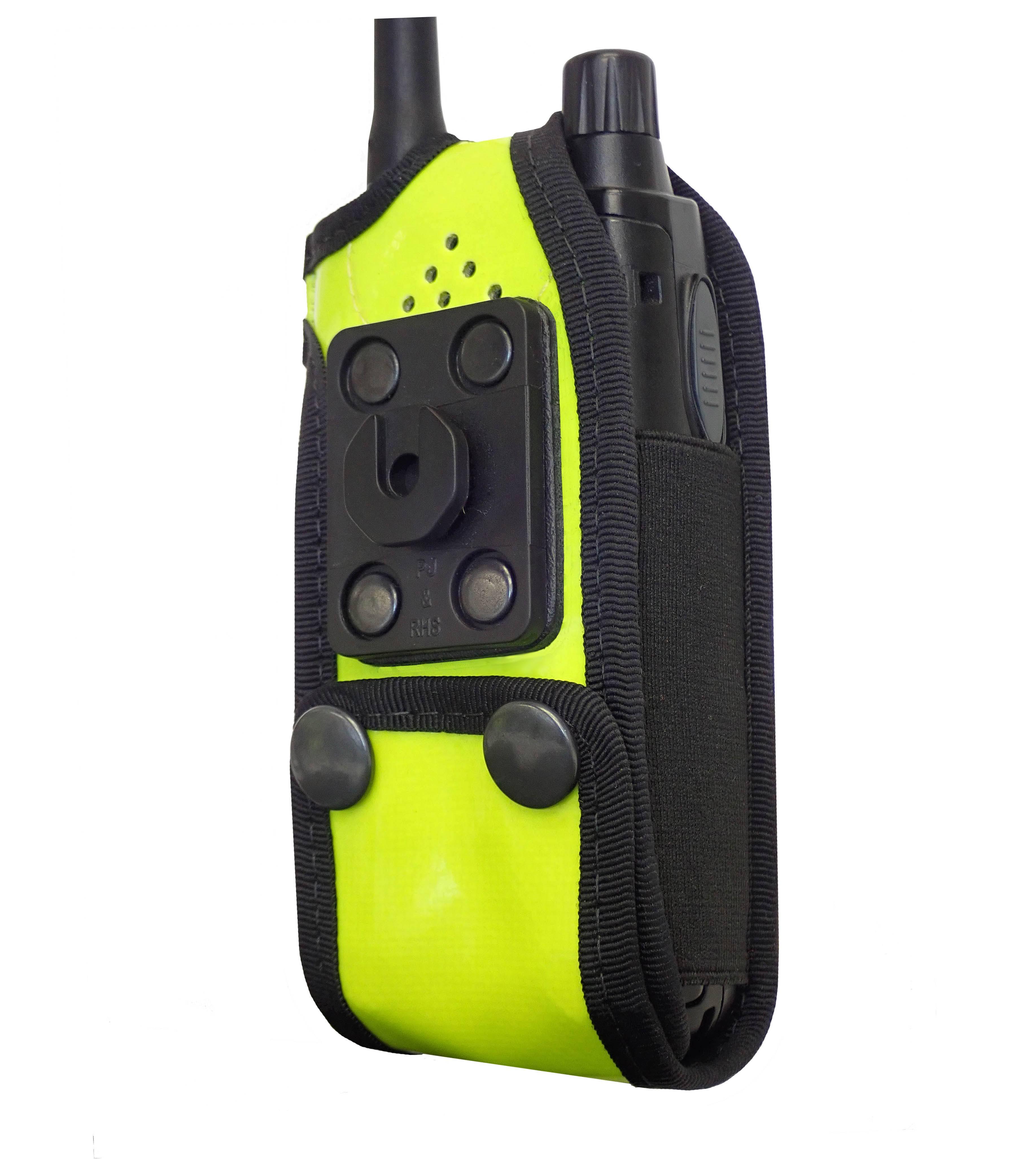 Sepura SRP2000 Tetra Hi-Vis Yellow PU radio case with Click-On