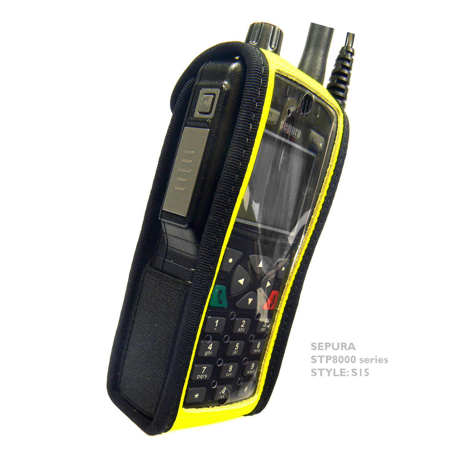 Sepura STP8000 Tetra Radio Hi-Vis Leather