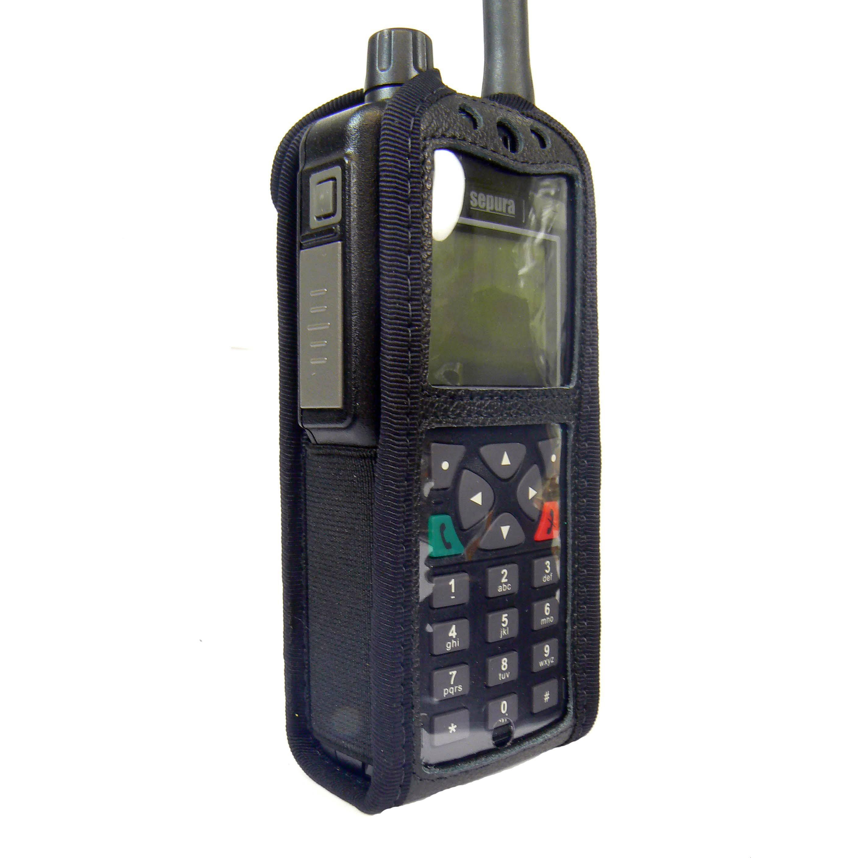 Sepura STP8000 Tetra leather radio case with Click-On