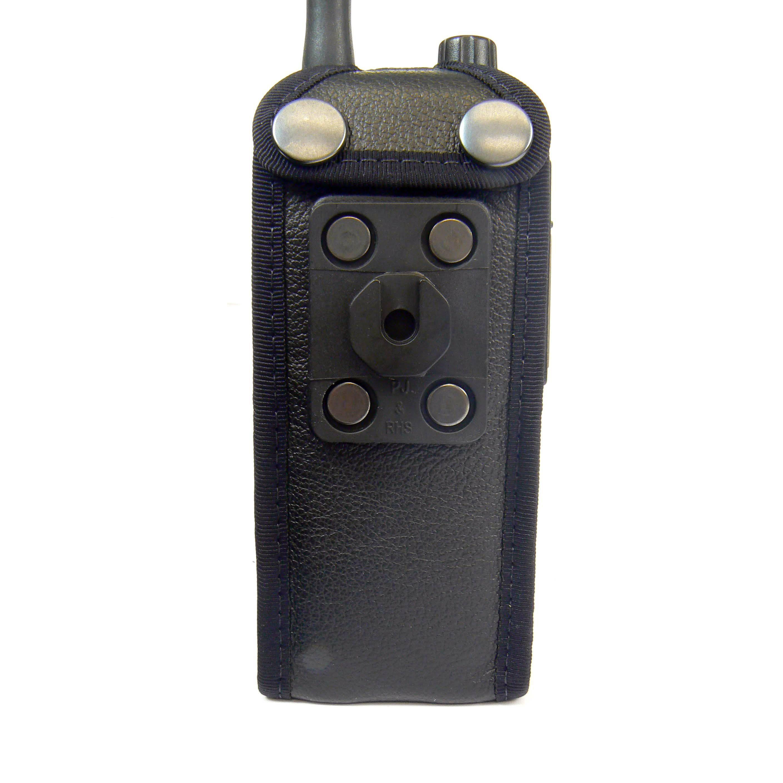 Sepura STP8000 Tetra Hi-Vis leather radio case with Click-On