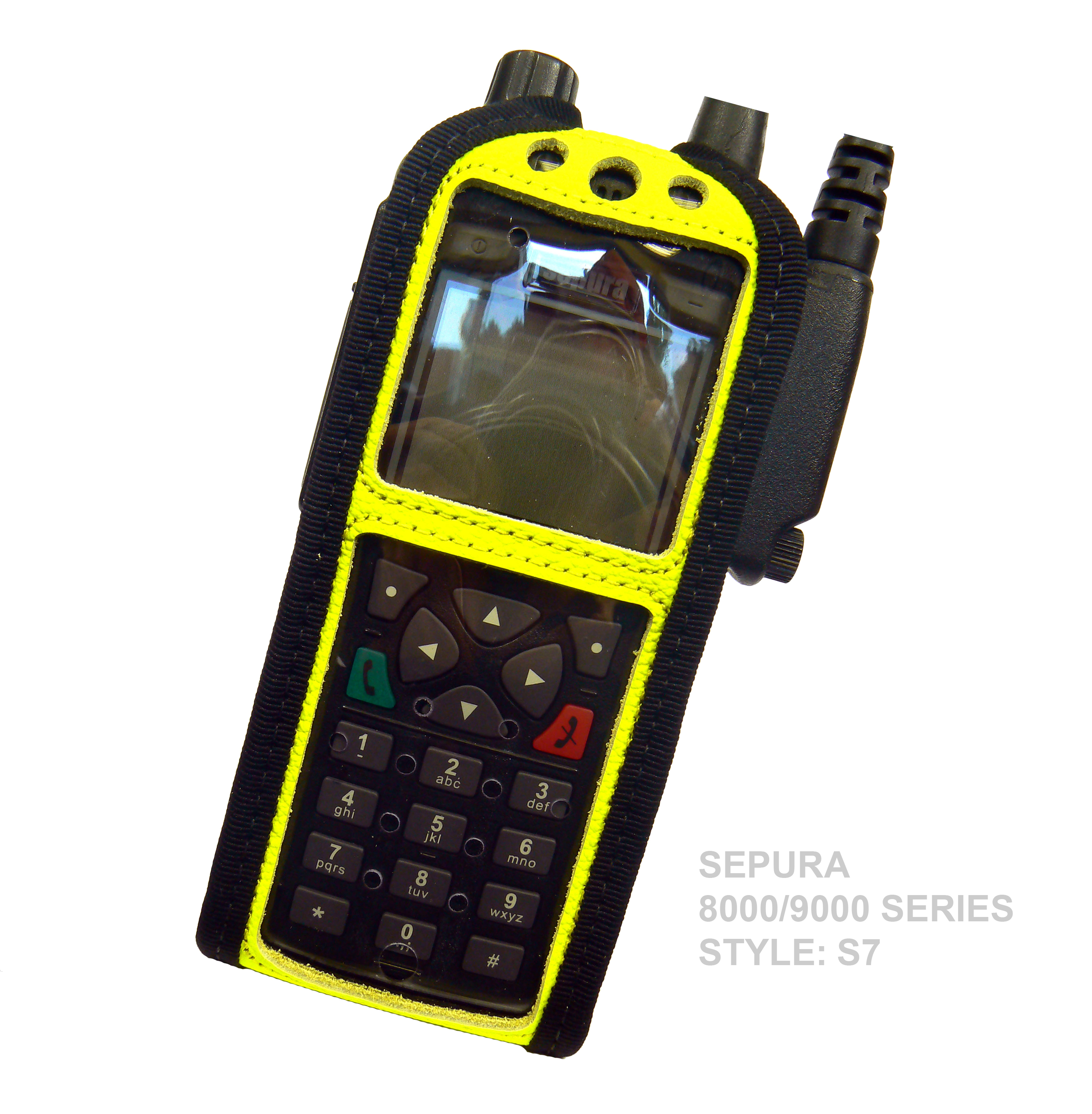 Sepura STP8000 Tetra Hi-Vis Yellow leather radio case with Click-On