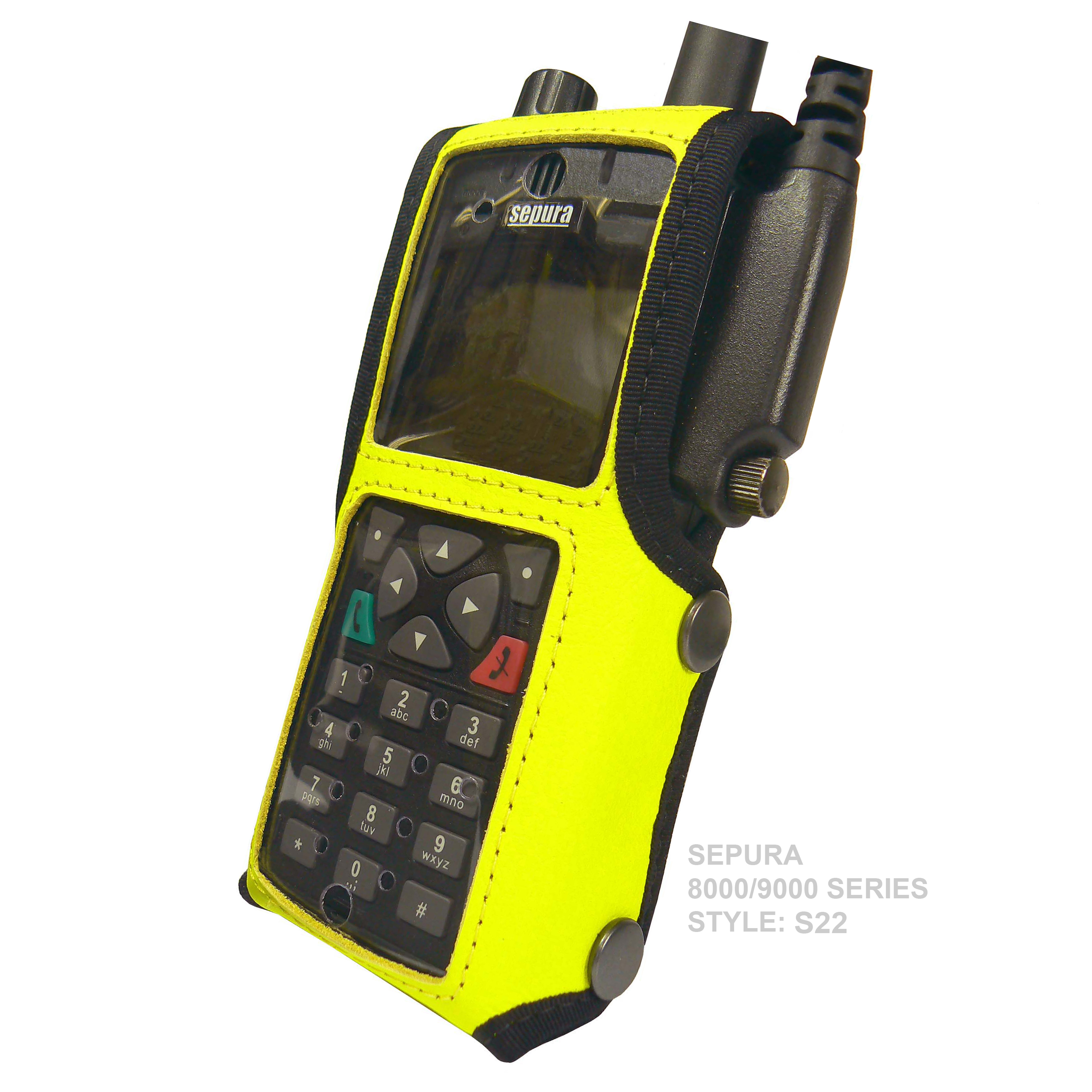 Sepura STP9000 Tetra Radio Hi-Vis Leather